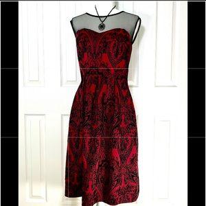 Dark red dress with black design illusion bodice 8